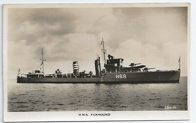 HMS FOXHOUND F-class Destroyer Royal Navy Unused Real Photo Postcard
