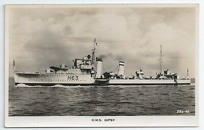 HMS GIPSY G-class Destroyer Royal Navy Unused Real Photo Postcard