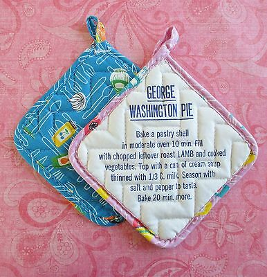 Pair of Retro Vintage Advertising Pot Holders with Recipes