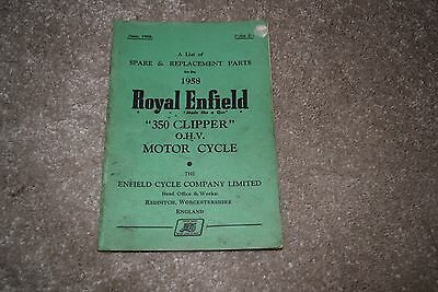 Royal Enfield 350 Clipper spare & replacement parts book 1958