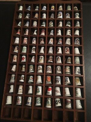 Thimbles Collection In Thimble Holder / Case - 88 Thimbles - Space For 8 More