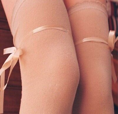 Regency Style Beige Cotton Stockings With Ribbon Garter