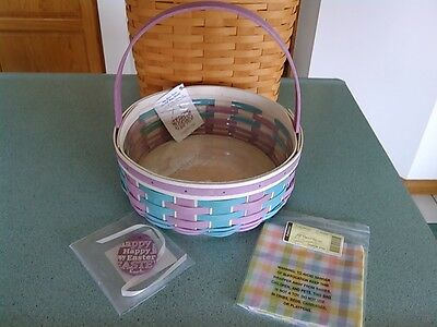 Longaberger 2016 Easter basket purple & blue w/fabric square, protector & tie-on