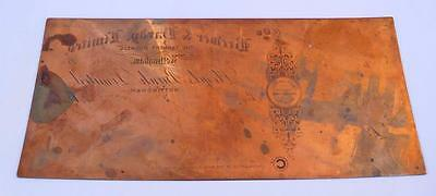 1930s copper printing plate Lloyds Bank Cheque Leather Works Nottingham Rare