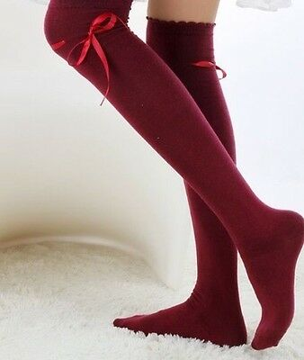 Regency Style Dark Red Cotton Stockings With Ribbon Garter