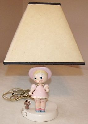 vintage wooden nursery lamp with shade pink girl with dog