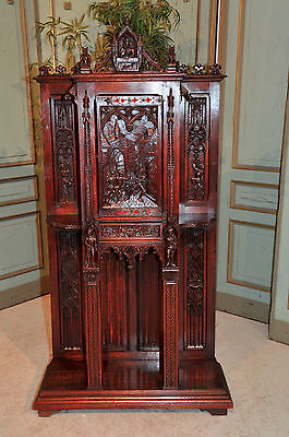 Antique French Neo Cabinet Carved Battle Scenes, Demons, Knights and MORE