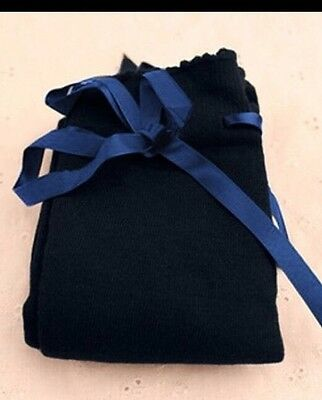 Regency Style Navy Cotton Stockings With Ribbon Garter
