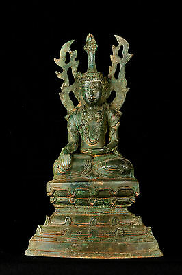 19th Century Burmese Shan Bronze Enlightenment Buddha Statue - 35cm/14""