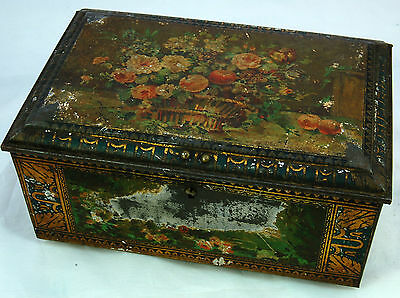 Vintage French Footed and Lockable Tin