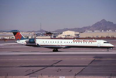 Original 35mm Aircraft Slide America West Canadair CRJ-900 N907FJ PHX 2/04