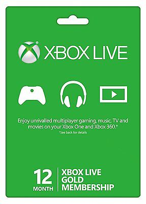 12 Months Xbox Live Gold Xbox One, One S, 360 1 Year - Next Day Delivery