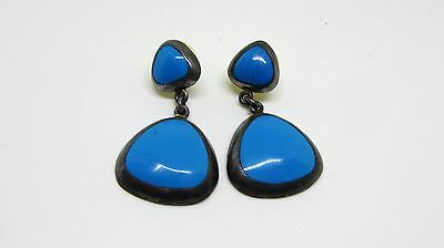Taxco Sterling Silver 950 Earrings Turquoise Inlay_Dangle_Signed Cii_Make Offer!