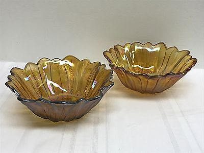 Two Vintage Iridescent Carnival Glass Flower Candy Bowl Dishes
