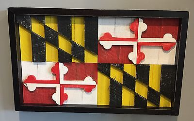 Framed Maryland State Flag Handcrafted from Wood Pallets 26 x 16 Painted by Hand