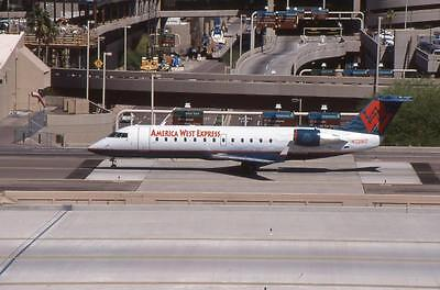 Original 35mm Aircraft Slide America West Canadair CRJ-200LR N7291Z PHX 4/99