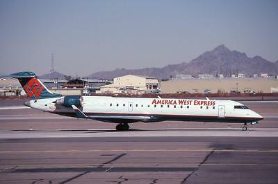 Original 35mm Aircraft Slide America West Canadair CRJ-700 N504MJ PHX 2/04