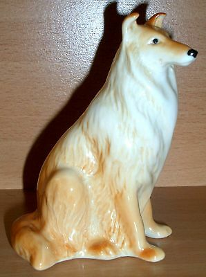 Hand Made Collectable Porcelain Sitting Collie Dog Figurine