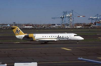Original 35mm Aircraft Slide Midway Airlines Canadair CRJ-200LR N570ML EWR 4/99