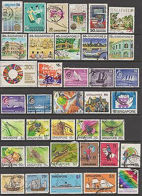 SINGAPORE Used stamps, 2 scans, vals to $5, cards not included.