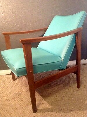 Vintage Mid Century Modern Danish Lounge Chair Arms Turquoise Vinyl Wood