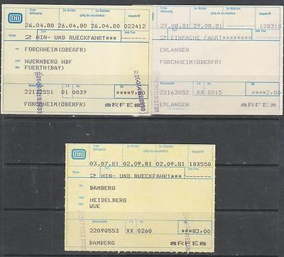 GERMANY -  9 x Used Railway Tickets 1976-1981 Period
