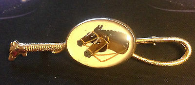 Vintage Double Horse Head w/ Fox Head Crop Whip Pin Brooch 3""