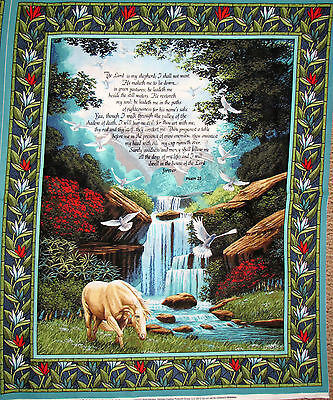 """Psalm 23 Religious The Lord Is My Shepherd Bible Cotton Fabric 36""""X44"""" Panel"""