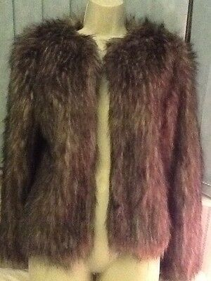 Faux Fur Brown And Beige Jacket Size 12