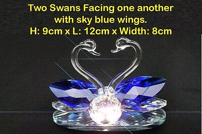 Pair of Swans Crystal Cut Swarovski Clear Element Sky Blue Wings Ornament Solid