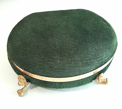 Genuine Jade Presentation Green Velvet Jewelry Box Claw Foot Lion feet