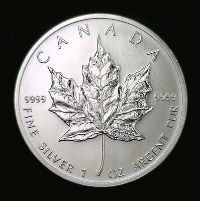 2005 Canadian Maple Leaf $5 1 oz .9999 Fine Silver Gem BU 001