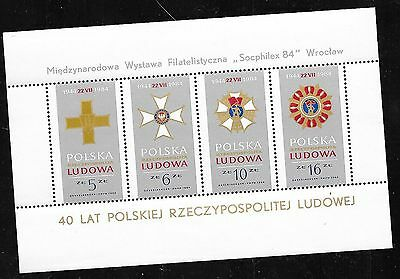 POLAND 1984. 40th Anniv of Polish People's Republic. SG MS2945. perf., MH+o.g.
