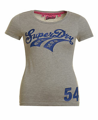 Neues Damen Superdry Double Swoosh T-Shirt Grau Meliert