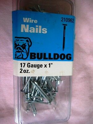 "Bulldog Wire Nails 17 Gauge X 1"" Sealed package 2oz"