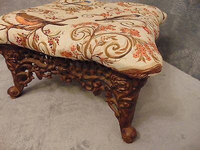 Cast Iron Reupholstered footstool Scroll foot !!!!!!