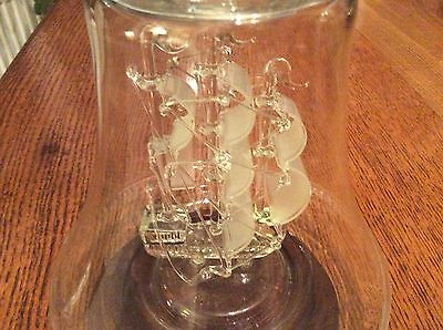 Ship in Bell Shaped Glass on wooden stand. Model of Golden Hind