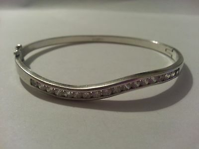 beautiful sterling silver 925 bangle, decorated with zircons