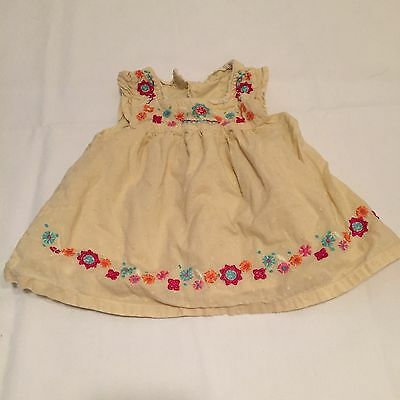 Yellow floral embroidered summer tunic top Baby Girls Clothes 3-6 Months