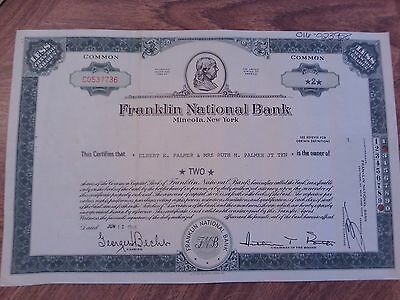 Franklin National Bank NY 1968, 2 Shares Stock Certificate