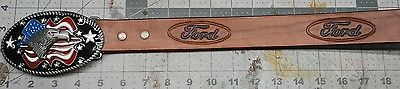 Leather Belt Embossed Ford with Eagle buckle