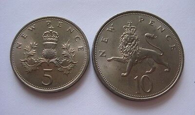 Great Britain Lot Of 2 Coins: 5 (Thistle) & 10 (Lion) New Pence, 1968 - Unc