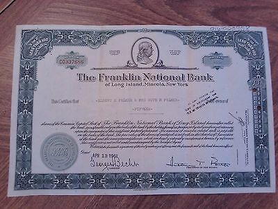 Franklin National Bank NY 1968, 15 Shares Stock Certificate