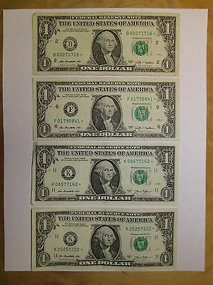 Lot Of 4 $1 Star Notes Includes 2009 New York  Low Serial Number