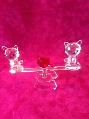 Glass Crystal Look Love Cats On See Saw Bnib