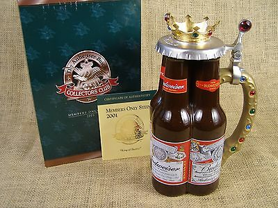 Anheuser Busch Budweiser King of Beers Stein 2001 CB18 Collectors Club