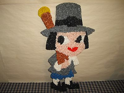 "Vintage Melted Plastic Popcorn Pilgram Boy 21"" Black Eyes Thanksgiving Decor"