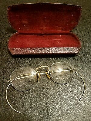 Antique  Eyeglasses with case Gold  Bausch & Lomb solid gold brim frameless