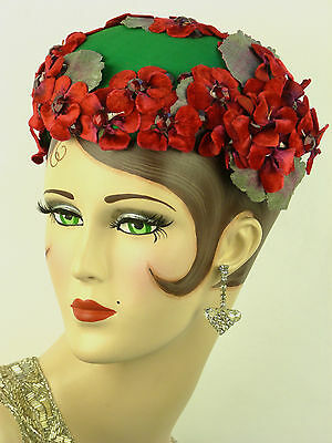VINTAGE HAT, 1950s LILLY DACHE, EMERALD GREEN SATIN WITH RED FLOWERS BANDEAU HAT