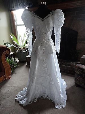 Vintage Beaded 80s Wedding Dress - Lili - Cathedral Train - Cosplay - Anime